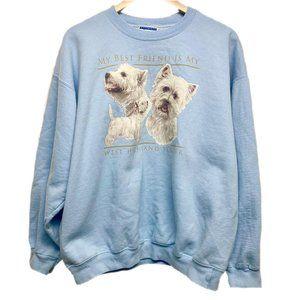 Vintage 90s Terrier Dog Graphic Crew Sweatshirt L